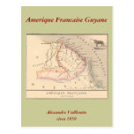 1858 Map of Amerique Francaise (Guyane), Guyana Postcard