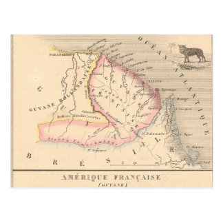 1858 Map of Amerique Francaise (Guyane), Guyana Post Card