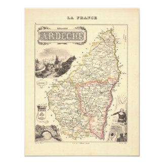"""1858 Map of Ardeche Department, France 4.25"""" X 5.5"""" Invitation Card"""