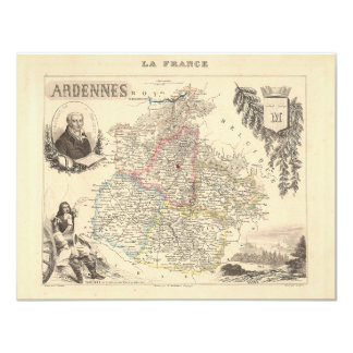 """1858 Map of Ardennes Department, France 4.25"""" X 5.5"""" Invitation Card"""
