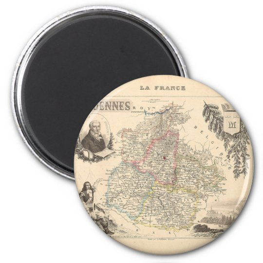 1858 Map of Ardennes Department, France Magnet