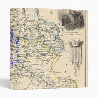 1858 Map of Ariege Department, France 3 Ring Binder