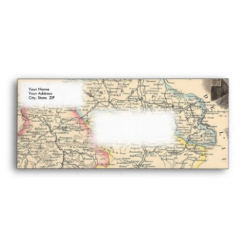 1858 Map of Ariege Department, France Envelope