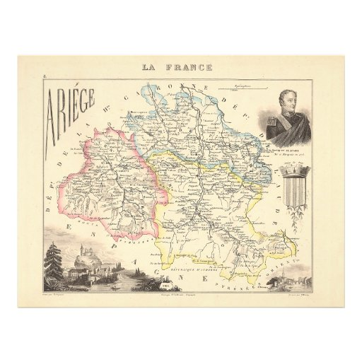 1858 Map of Ariege Department, France Full Color Flyer
