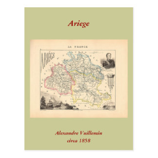 1858 Map of Ariege Department, France Post Cards