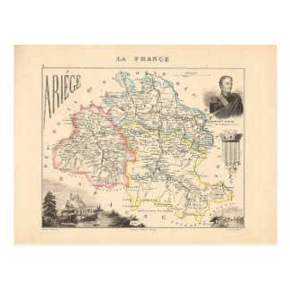 1858 Map of Ariege Department, France Postcards