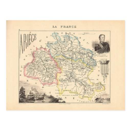 1858 Map of Ariege Department, France Postcard
