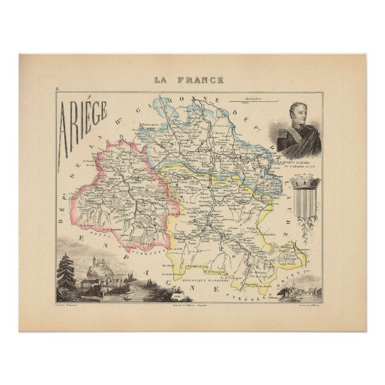 1858 Map of Ariege Department, France Poster