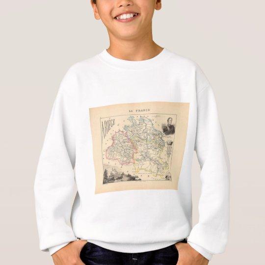 1858 Map of Ariege Department, France Sweatshirt