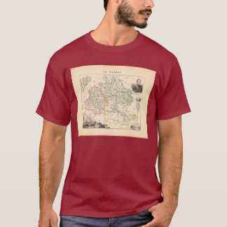 1858 Map of Ariege Department, France T-Shirt