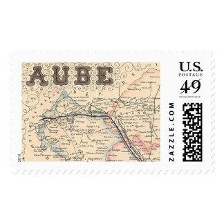 1858 Map of Aube Department, France Postage