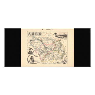 1858 Map of Aube Department, France Full Color Rack Card