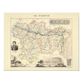 1858 Map of Aude Department, France Card