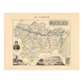 1858 Map of Aude Department, France Post Card