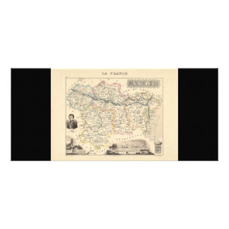 1858 Map of Aude Department, France Full Color Rack Card