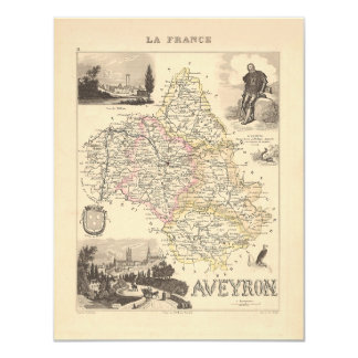 1858 Map of Aveyron Department, France 4.25x5.5 Paper Invitation Card