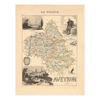 1858 Map of Aveyron Department, France Post Card