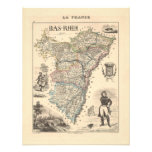 1858 Map of Bas Rhin Department, France Custom Invites