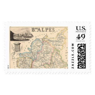 1858 Map of Basses Alpes Department, France Postage