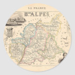 1858 Map of Basses Alpes Department, France Round Stickers