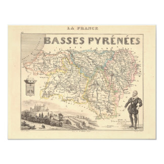 1858 Map of Basses Pyrenees Department, France Card