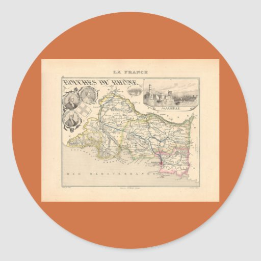 1858 Map of Bouches du Rhone Department, France Classic Round Sticker
