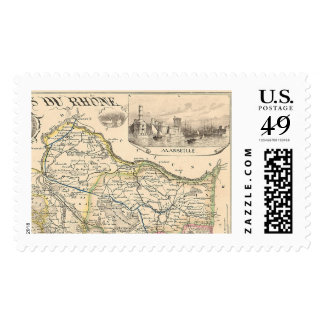 1858 Map of Bouches du Rhone Department, France Postage