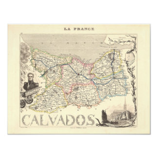"""1858 Map of Calvados Department, France 4.25"""" X 5.5"""" Invitation Card"""