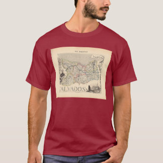 1858 Map of Calvados Department, France T-Shirt