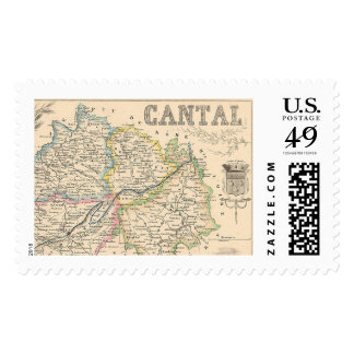 1858 Map of Cantal Department, France Postage