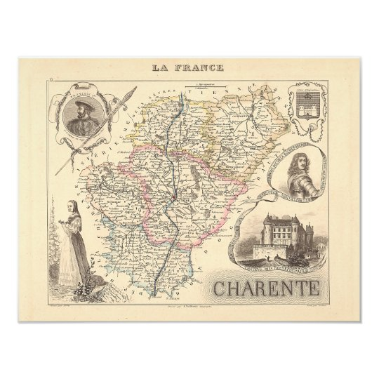 1858 Map of Charente Department, France Card