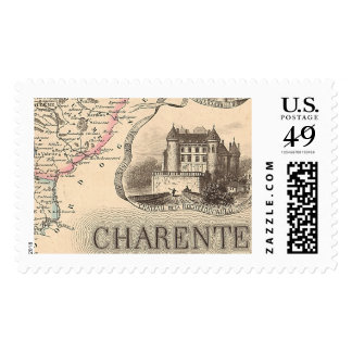 1858 Map of Charente Department, France Stamp
