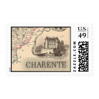 1858 Map of Charente Department, France Postage Stamps