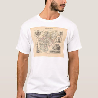 1858 Map of Charente Department, France T-Shirt