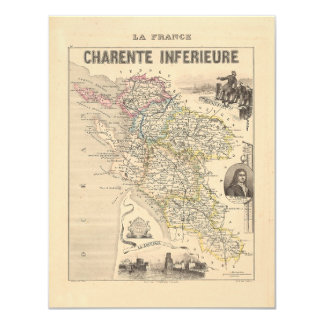 """1858 Map of Charente Inferieure Department, France 4.25"""" X 5.5"""" Invitation Card"""