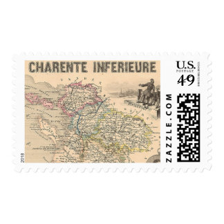 1858 Map of Charente Inferieure Department, France Stamp