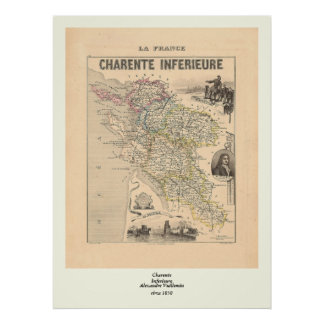 1858 Map of Charente Inferieure Department, France Poster
