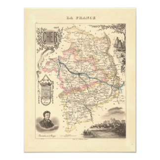 """1858 Map of Cher Department, France 4.25"""" X 5.5"""" Invitation Card"""