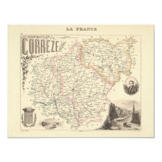 1858 Map of Correze Department, France 4.25x5.5 Paper Invitation Card