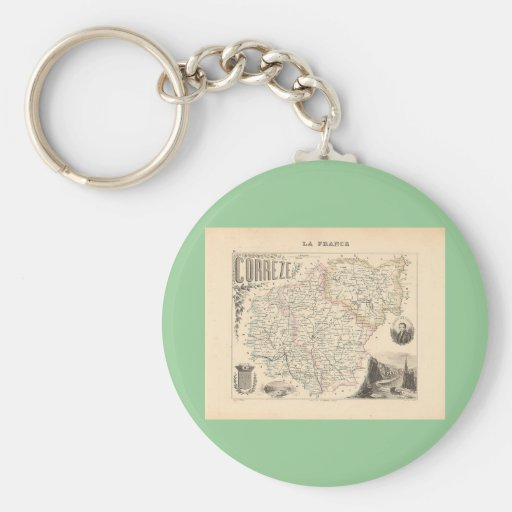 1858 Map of Correze Department, France Basic Round Button Keychain