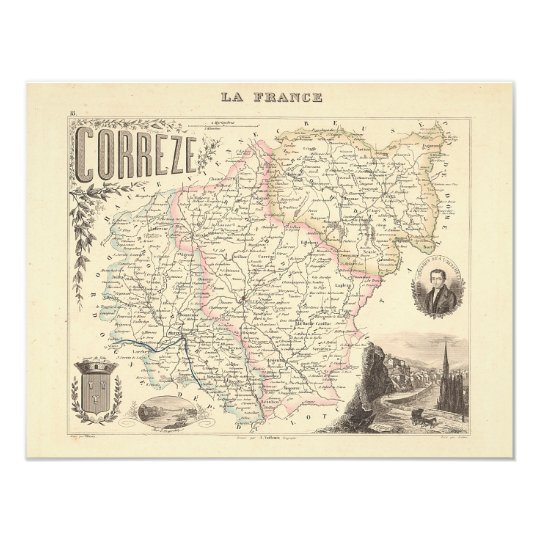 1858 Map of Correze Department, France Card