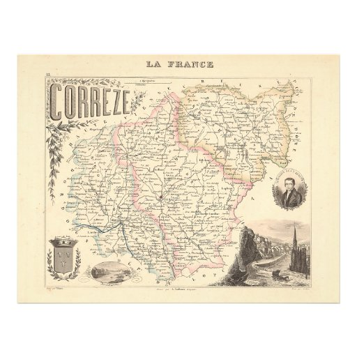 1858 Map of Correze Department, France Personalized Flyer