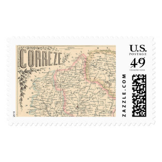 1858 Map of Correze Department, France Postage