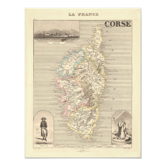 1858 Map of Corse Department, Corsica, France 4.25x5.5 Paper Invitation Card