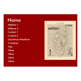 1858 Map of Corse Department Corsica France Business Cards