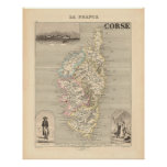 1858 Map of Corse Department, France Print