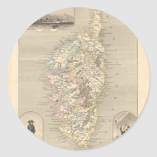 1858 Map of Corse Department, France Round Sticker