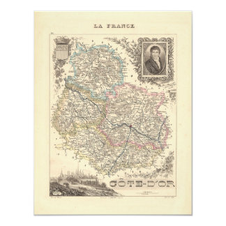 """1858 Map of Cote d'Or Department, France 4.25"""" X 5.5"""" Invitation Card"""