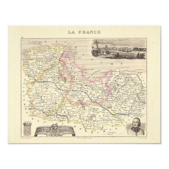 1858 Map of Cotes du Nord Department, France Card