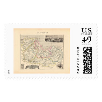 1858 Map of Cotes du Nord Department, France Postage